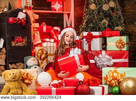 Discover Beauty Of Winter. Kid Santa Hat Christmas Gift Boxes. Santa Brought Me Gifts. Gifts Shop. C