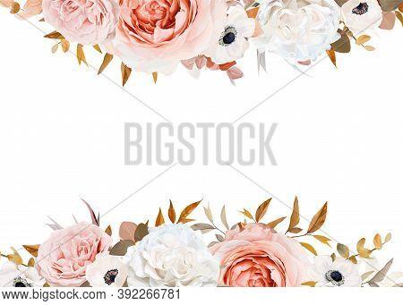 Wedding Invite, Floral Greeting Card, Banner Copy Space Design. Elegant Blush Peach, Pink Rose Flowe