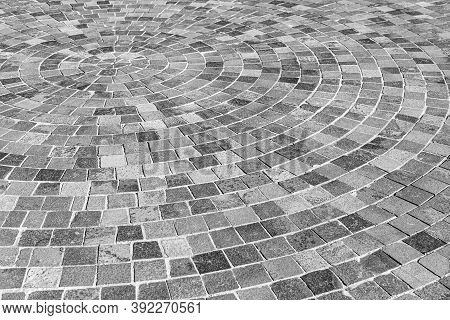 Gray Stone Paving Stones As An Abstract Background.