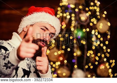Cool Santa Claus. Naughty Is New Nice. Man With Beard Christmas Decorations Background. Winter Holid