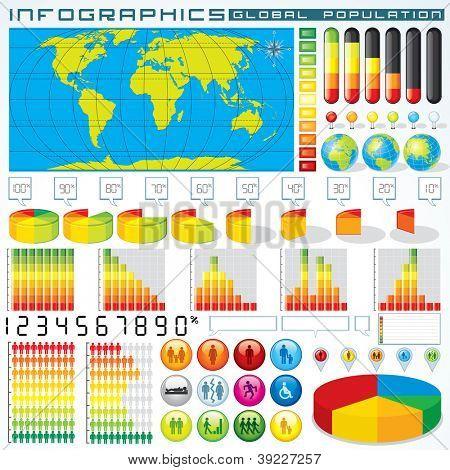 Info Graphics Set : Population. Vector Design Kit for Your Presentation or Design