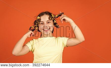 Time For Fun. Kid Hairdresser Salon. Healthy Long Hairstyle. Hair Care For Child. Little Woman Groom