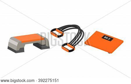 Sport Equipment With Weighing Machine And Resistance Band Vector Set
