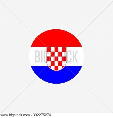 Croatia Round Flag Icon. National Croatian Circular Symbol Vector Illustration Isolated On White.