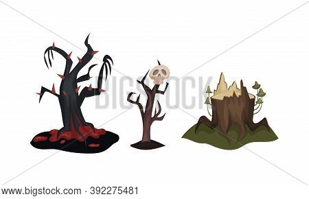 Gloomy Halloween Trees With Stunted Branches Vector Set