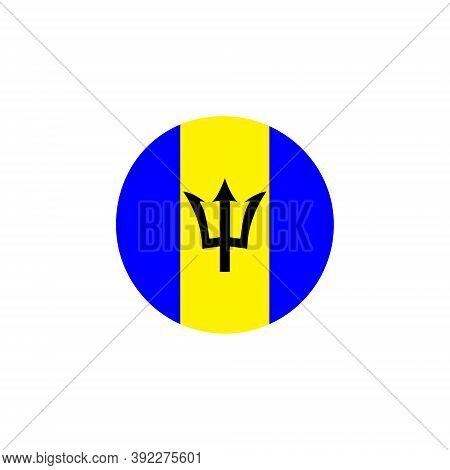 Barbados Round Flag Icon. Barbados Circular Symbol Vector Illustration Isolated On White.