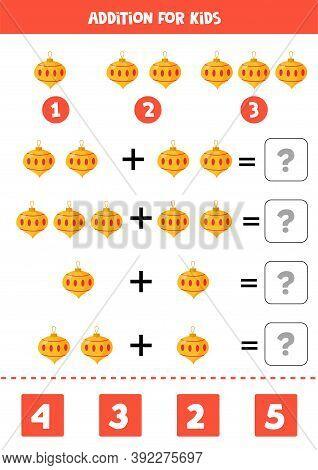 Addition With Christmas Ball. Mathematical Game For Kids.