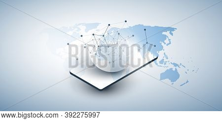Abstract Minimal Style Cloud Computing, Networks Structure, Telecommunications Concept Design, Netwo