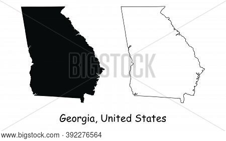 Georgia Ga State Maps Usa. Black Silhouette And Outline Isolated On A White Background. Eps Vector