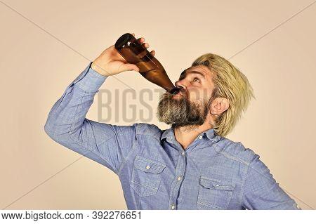 Having Alcohol Addiction And Bad Habits. Having Fun. Hangover Syndrome. Alcoholism Problem. Drunk Ma