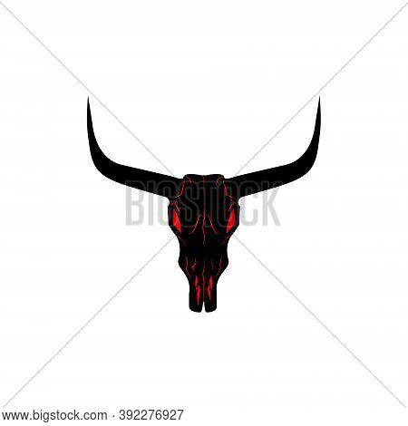 Bull Skull Icon. Buffalo Head With Red Eyes Vector Illustration Isolated On White. Animal Skull With