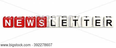 Newsletter Cube Crossword On White Background, 3d Rendering