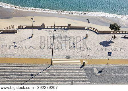 Beach Promenade Vasco Da Gama In Sines, Portugal