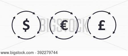 Set Currency Exchange Outline Icon. Money Icon Concept. The Circulation Of Money In The World.