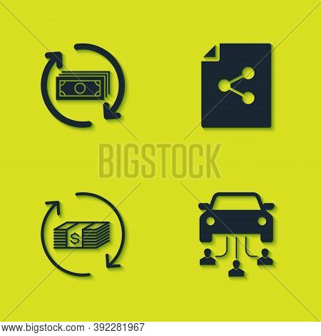 Set Refund Money, Car Sharing, And Share File Icon. Vector