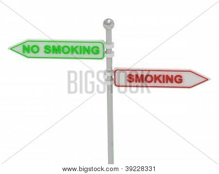 """Signs With Red """"smoking"""" And Green """"no Smoking"""""""