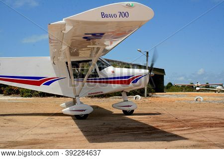 Santa Cruz Cabrali, Bahia / Brazil - February 6, 2008: Experimental Ultralight Plane Is Seen During