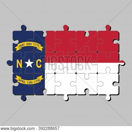 Jigsaw Puzzle Of North Carolina Flag In Blue Union, A White Star With N And C, The Circle Containing