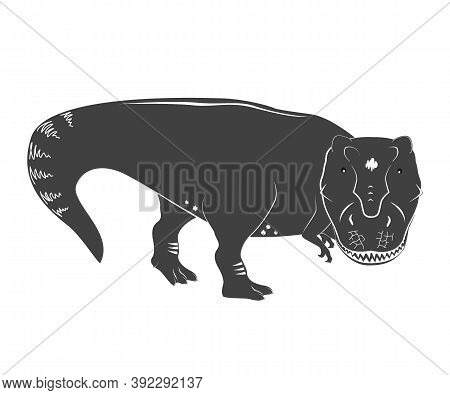 Vector Illustration Of A Young And Cute Tyrannosaurs Rex. T Rex Dino. Cute Cartoon Dinosaur Isolated
