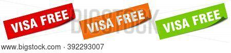 Visa Free Sticker. Visa Free Square Isolated Sign. Visa Free Label
