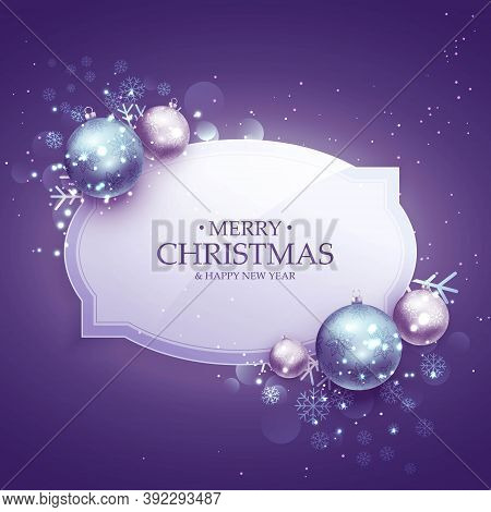 Beautiful Merry Christmas Decoration Background In Purple Shade With Realistic Ballsbeautiful Merry