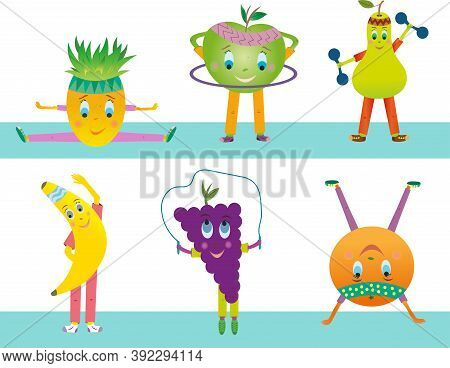 Pineapple Is Sitting On A Twine. An Apple Twists A Hoop. Pear Lifts Dumbbells. Banana Makes Slopes.