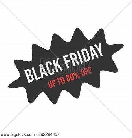Sale Starburst Sticker For Black Friday Promotion.