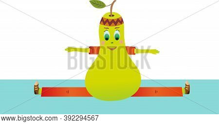 Vector Green Pear Sits On A Twine. Pear Goes In For Sports On A White Background. Fruit Wants To Be