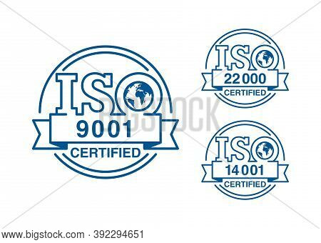 Iso 9001, 14001 And 22000 Certified Stamps Collection - Worldwide Quality Management System Internat
