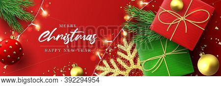 Merry Christmas And Happy New Year Banner. Holiday Background With Realistic Gift Boxes, Christmas B