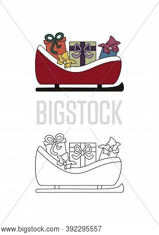 Christmas Sleigh Full Of Gifts. Coloring Page For Kids.