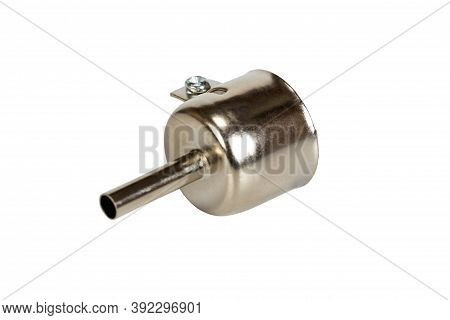 Soldering Nozzle For Hot Air Gun Smd Rework Station. Isolated On A White Background.
