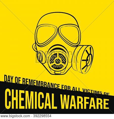 Day Of Remembrance For All Victims Of Chemical Warfare Design With Line Art Of Gas Mask Vector Illus