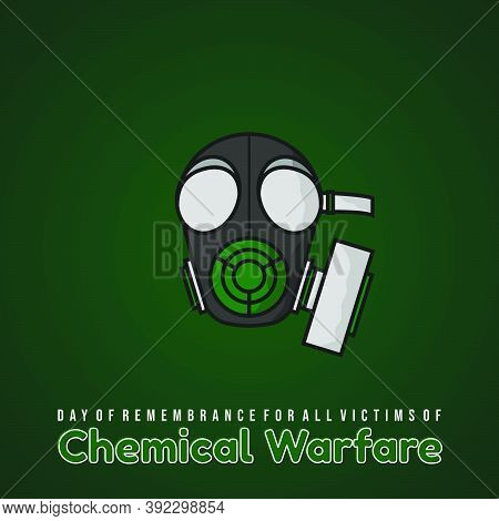 Day Of Remembrance For All Victims Of Chemical Warfare Design With Gas Mask And Green Background Vec