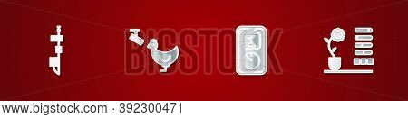 Set Standalone Sensor, Chicken Farm Camera, Smart Farming Technology And Flower Status Icon. Vector