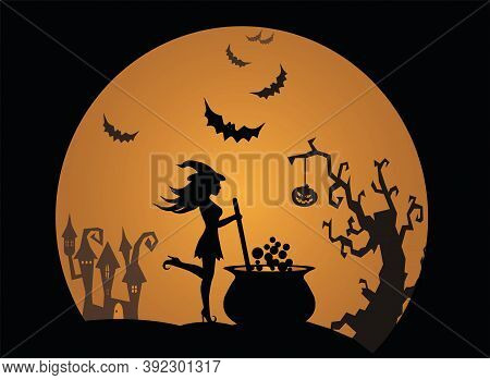Happy Halloween Young Witch Brews A Potion In A Large Cauldron From Which Bubbles Come Around A Horr