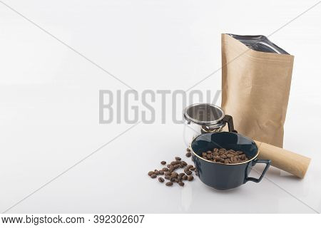Coffee Craft Paper Bag With Roasted Coffee Bean.