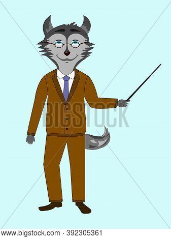 Husky Dog Character Isolated Vector Profession Teacher