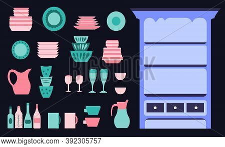 Vintage Sideboard Dishware Collection, Kitchen Utensils For Cooking On The Dark Background