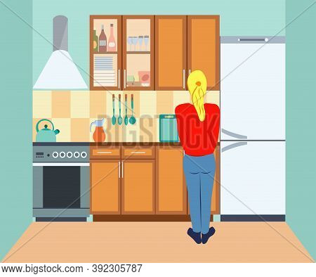 Young Woman Washing Dishes On The Kitchen. Back View. Girl In A Red Sweater. Kitchen Interior With F