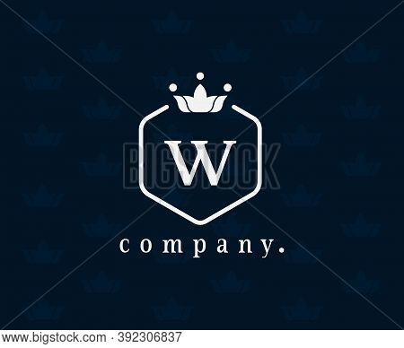 Letter W Floral And Crown Logo Design Elements. Graceful Template With A Seamless Pattern. Retro Vin
