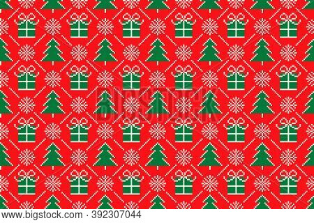 Winter Holiday Pixel Seamless Pattern With Christmas Symbols. Christmas Trees, Snowflakes, And Prese