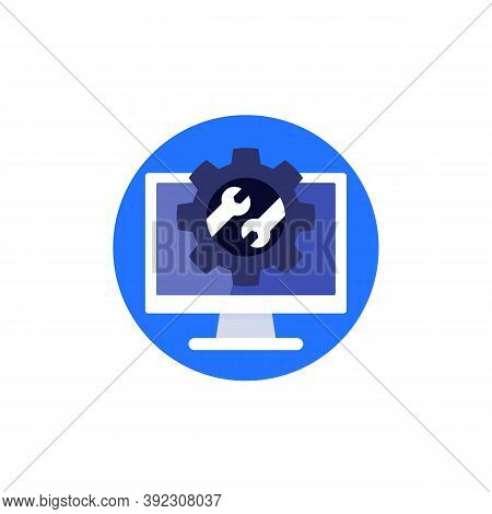 Repair Service, Gear And Wrench On Computer Screen, Vector Icon