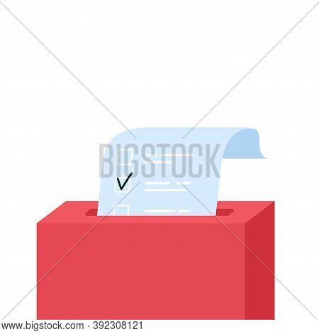 Vote Box With Checklist. Putting Paper In Ballot Box. Election Concept. Flat Design Vector Illustrat