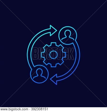 People Interacting, Teamwork Or Business Interaction Vector Line Icon