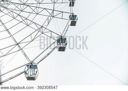 Ferris Wheel. Close Up Of Ferris Wheel Booth In City Park