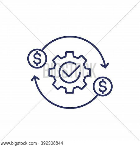 Costs Optimization And Production Efficiency Icon, Line, Eps 10 File, Easy To Edit