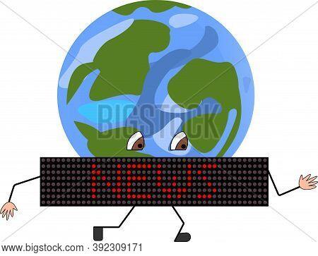 News Ticker Runs Around The Earth Vector Flat Illustration