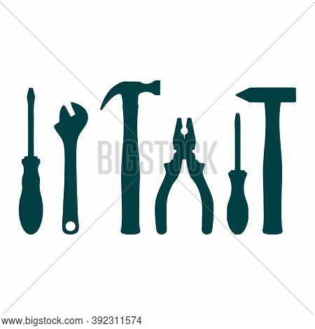 Flat Work Tools. Hammer And Drill, Ax And Screwdriver. Pliers And Saw, Wrench And Shovel. Constructi