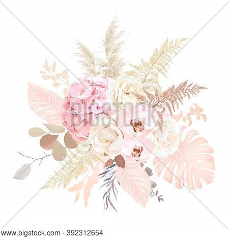 Luxurious Beige Trendy Vector Design Floral Bouquet. Creamy Beige Rose, Blush Hydrangea, Pale Pink O